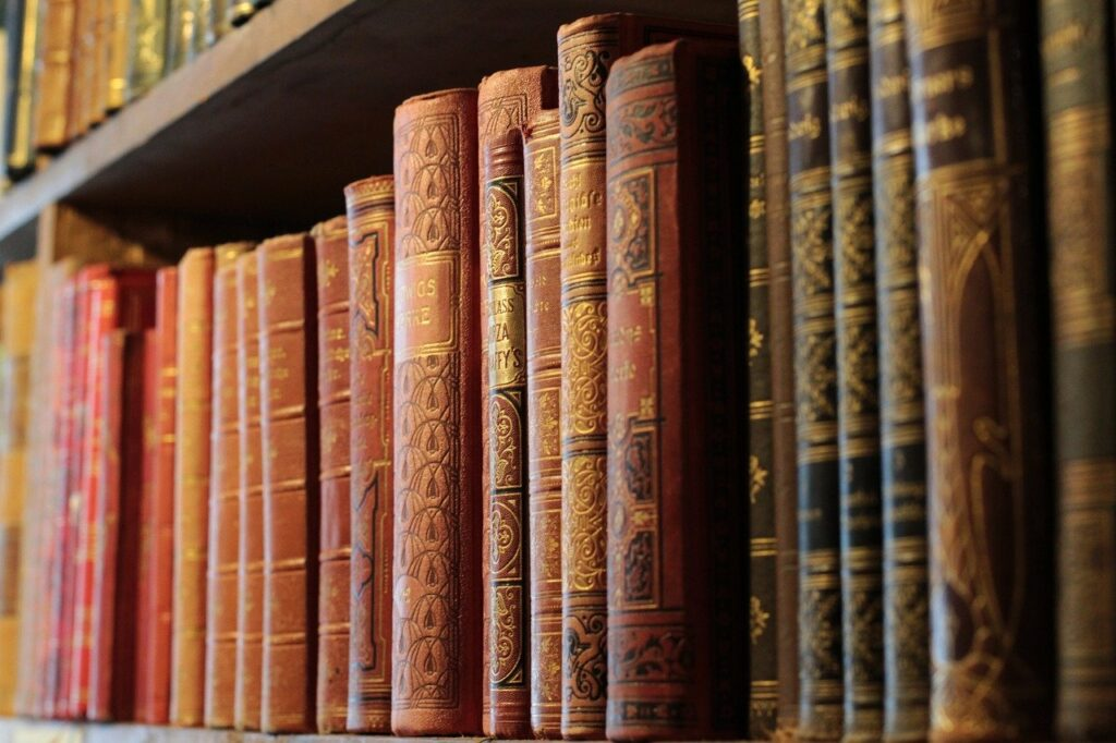 books, bookshelf, old