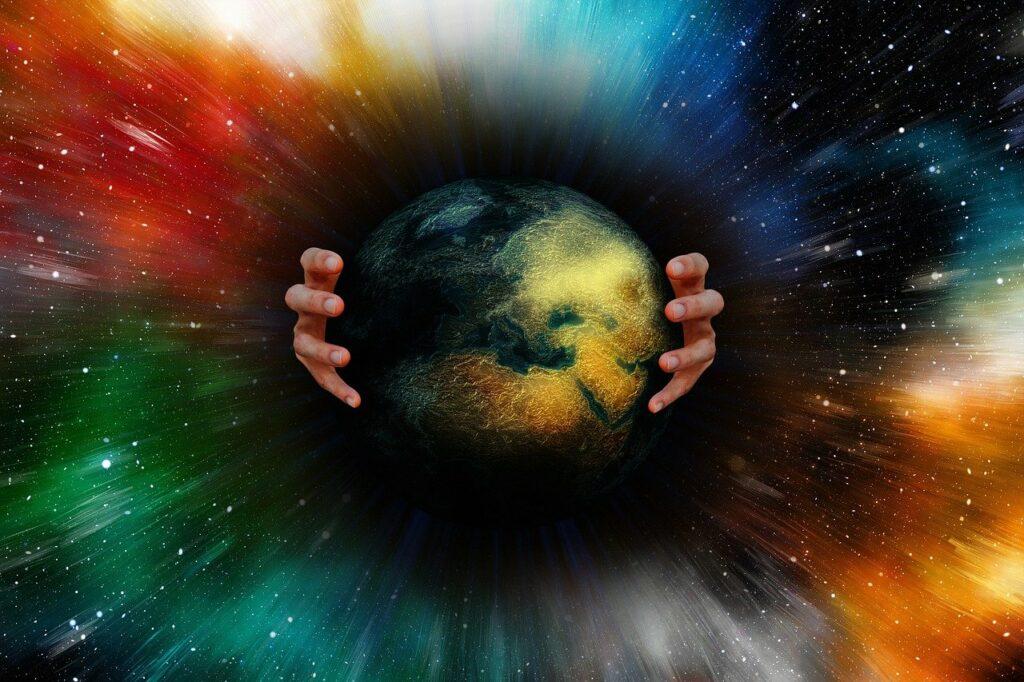 earth, world, hands