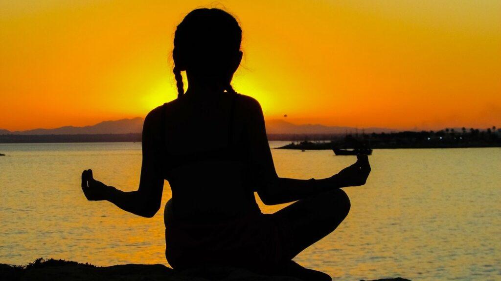 girl, sunset, meditation